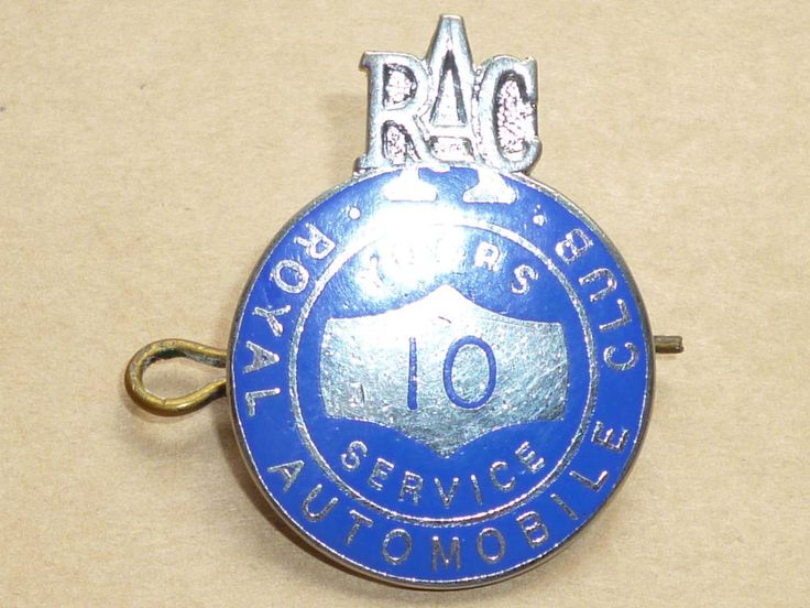 RAC Royal Automobile 10 Years Service Enamel Cap Badge Motor Car Staff ? 1950s