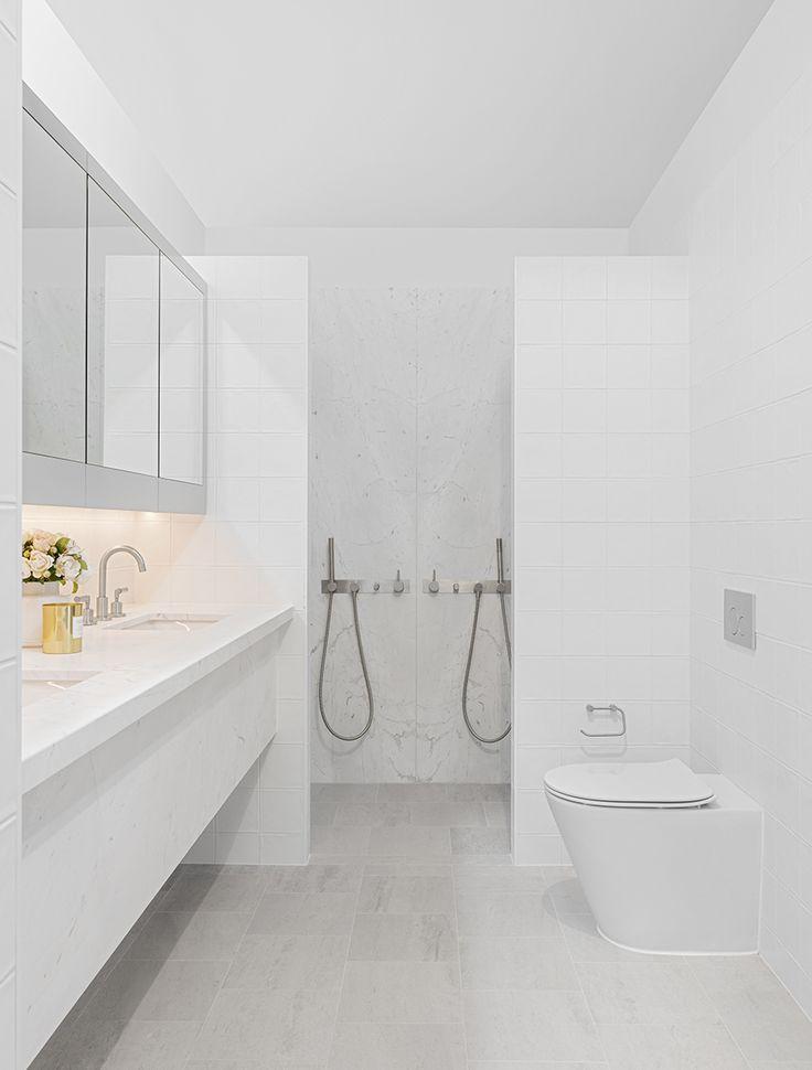 Elba marble and  grey travertine bathroom, Ida Apartments.