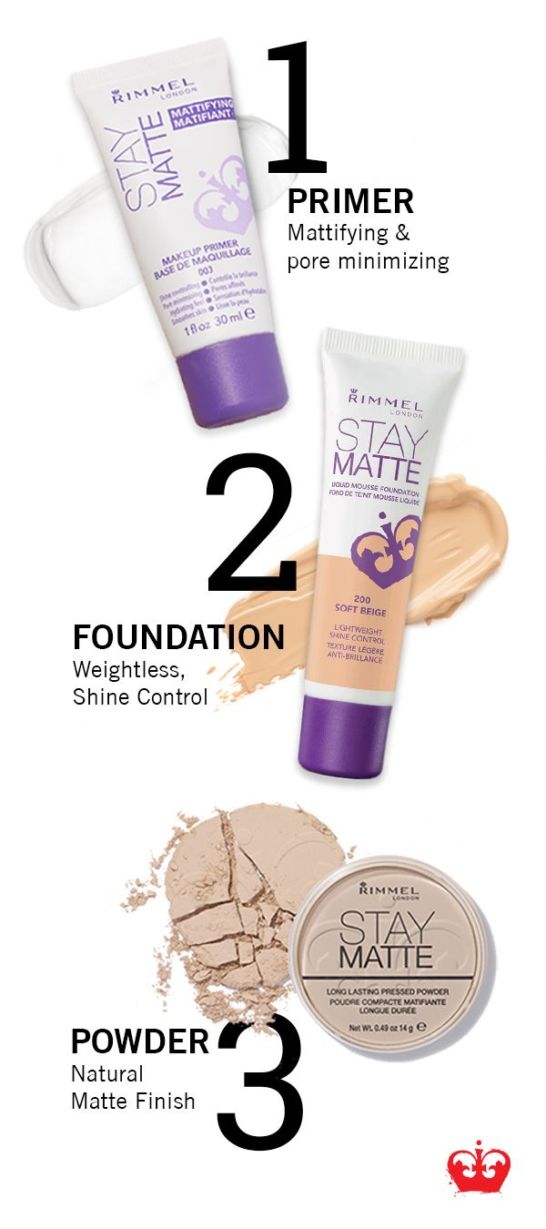 We have your secret weapon for flawless skin. Start by applying the mattifying Primer to minimize pores. Then apply the weightless Stay Matte foundation to keep shiny skin under control. Set your look with the Stay Matte Pressed Powder for a natural, matte finish.
