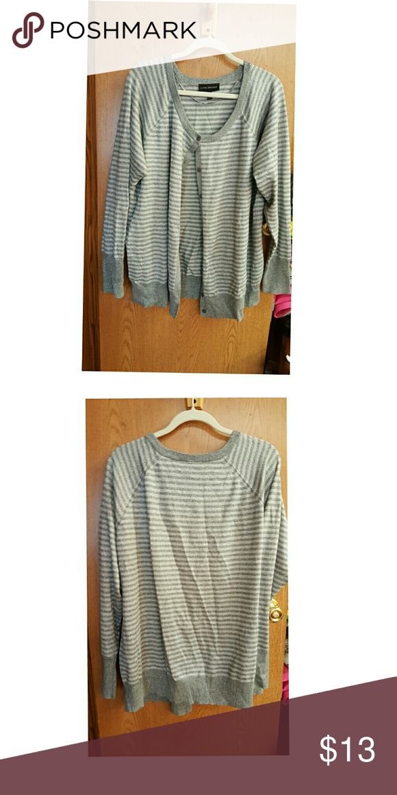 Grey and silver cardigan Sliver glitter stripes Lane Bryant Sweaters Cardigans