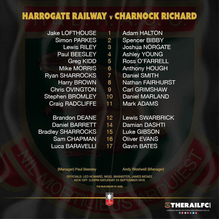 Today's teams for the Buildbase FA Vase tie    @therailfc @charnockfc @howell_rm