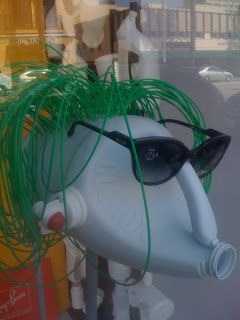 Very clever reuse of plastic bottle to use as a display for eyewear. Love it  SantaMonicaDeeVa: The Squaring of Santa Monica