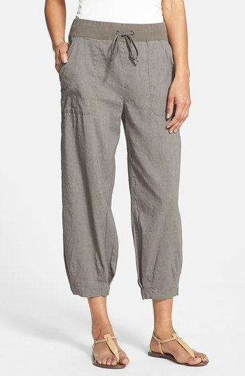 Eileen Fisher Slouchy Stretch Linen Capri Pants available at #Nordstrom