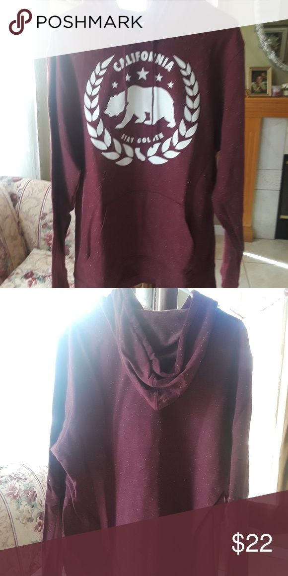 Rue 21 Men Burgundy Hoodie New Rue 21 Men Hoodies but without tags. Never used. It has a California Bear Logo. Rue21 Sweaters