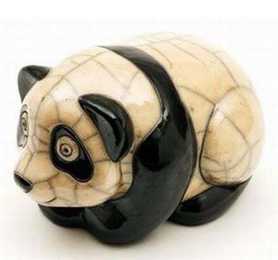 Raku Pottery Panda (large) Haven't seen Raku like this before.. Love :)