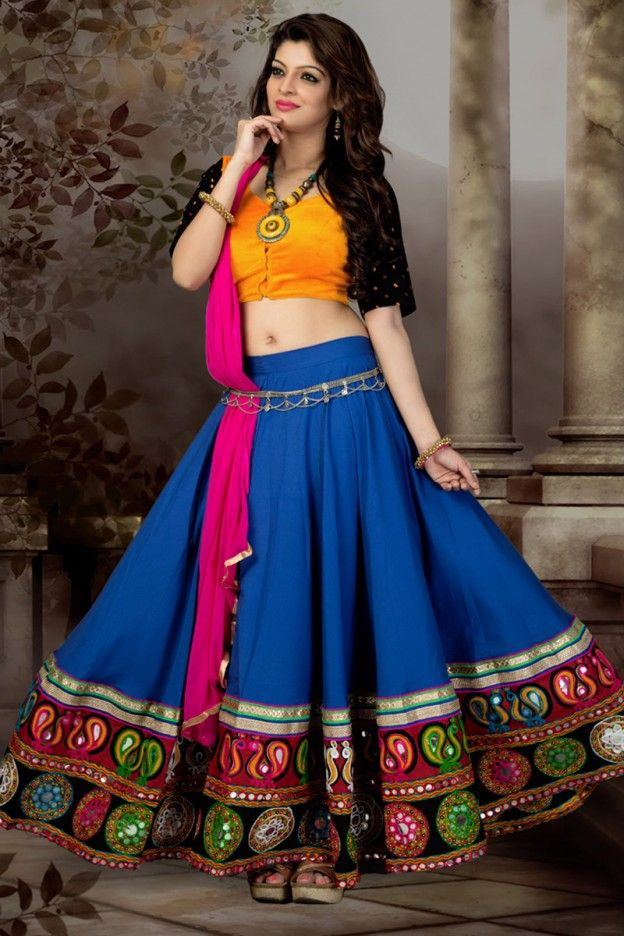 Blue And Yellow Color Simple Short Ghagra Choli #Blue #LehengaCholi