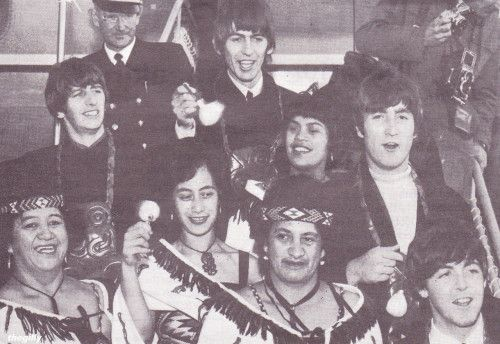 Members of the Te Pataka Concert Party twirling poi with the Beatles at Wellington's Rongotai Airport, 21 June 1964. It's wonderful to finally see this in a proper sized version rather than a rather poor quality screenshot I once took off of an...