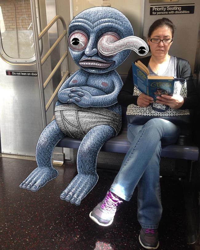Metro İstasyonunda Çekilen Fotoğraflara Yapılan Birbirinden Komik Karalamalar Sanatlı Bi Blog 5