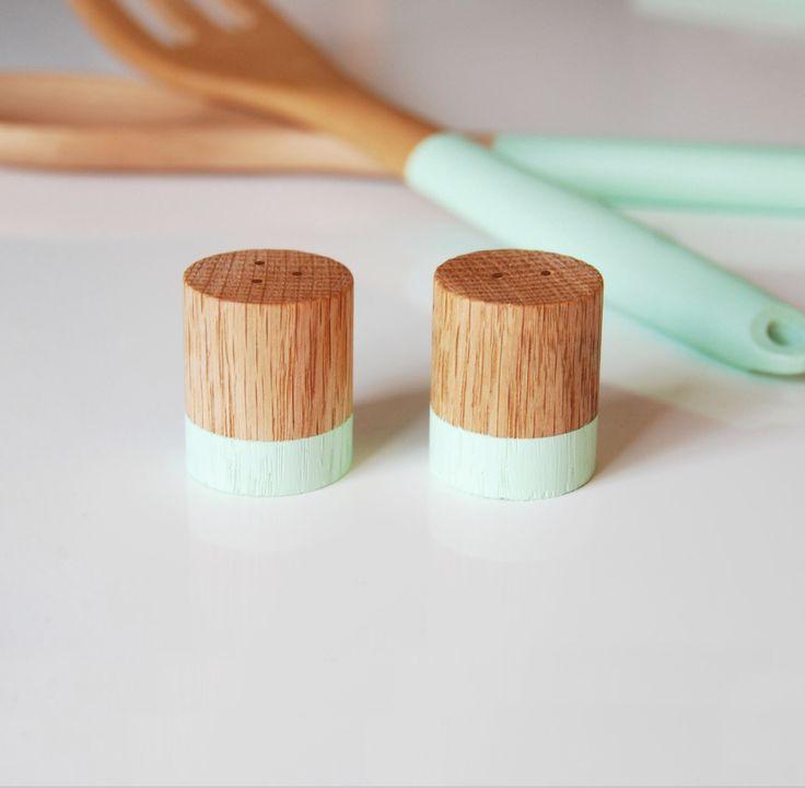 Mint Green Wood Mini Salt And Pepper Shaker Set / Wedding Table Salt And  Pepper /