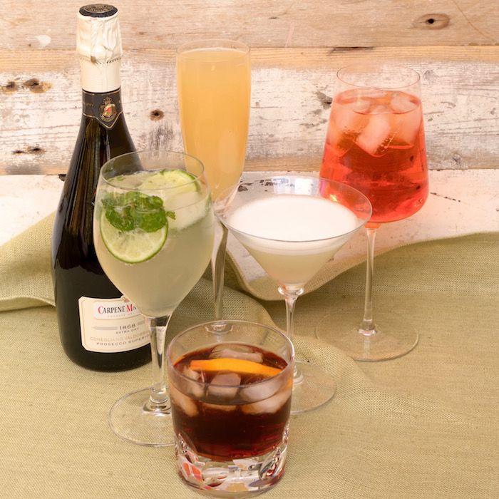 Hugo, Bellini, Sgroppino, Aperol Spritz, Sbagliato with Carpenè Malvolti Prosecco bottle - Top 5 Prosecco Cocktails - Food-Wine-Travel with Roberta Muir