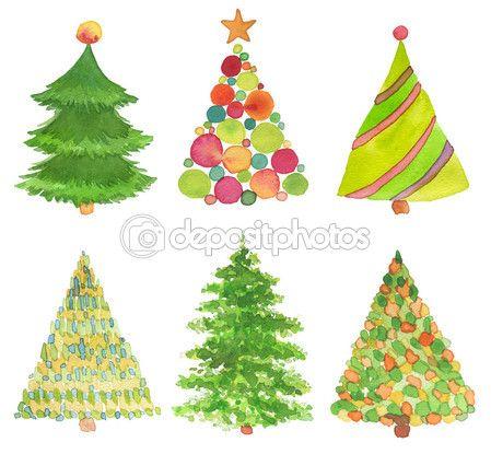 Набор акварели раскрашенная вручную рождественская елка. бумага структуры — стоковое изображение #60599067