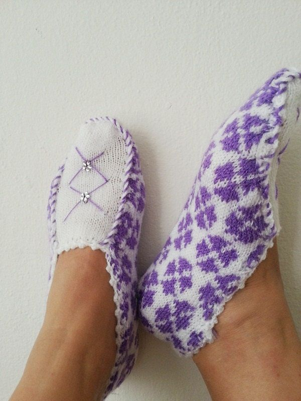 Purple and White ethnic knit slippers , authentic regional slippers, slippers, Home slippers - OOAK-Cyber Monday