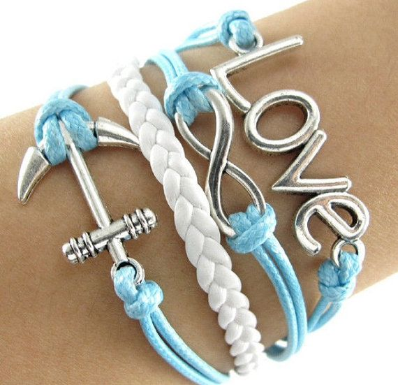 Anchor Infinity Love Sky Blue Bracelet on Etsy, $7.99