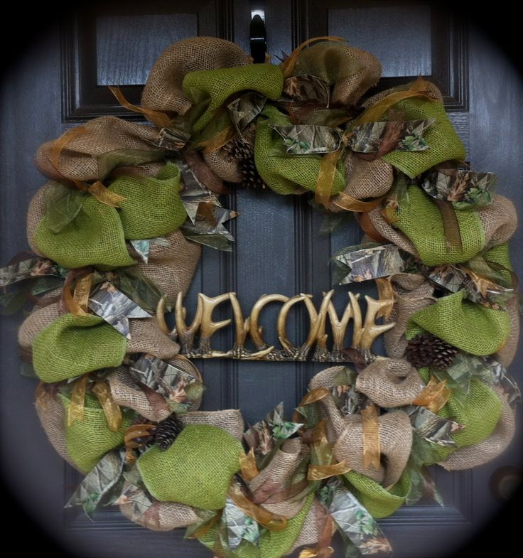 Camouflage Wreath, Hunters Wreath, Natural Wreath, Deer Wreath by CraftElegance on Etsy
