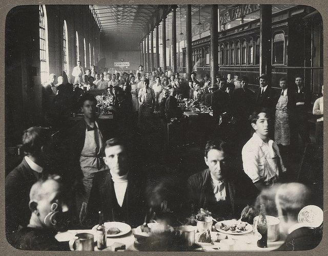 Photograph album of Eveleigh Workshops during the 1917 railway strike - At Dinner by State Records NSW, via Flickr