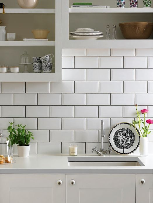 Subway tiles with dark grout for definition - THIS for my kitchen (with  open cabinets