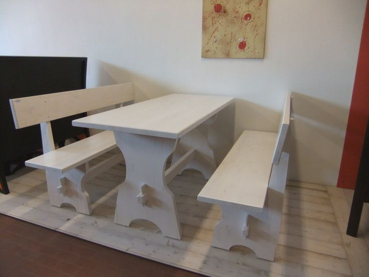 Bench set 020. Benches and table in white aniline varnished, solid Swedish pine wood. /Set panche 020. Panche e tavolo in legno di pino massello tinto anilina bianca.