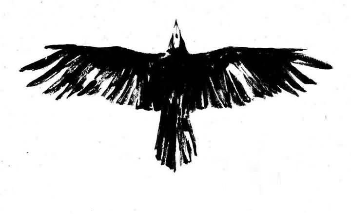 Classy Black Crow Tattoo Design Make On Paper