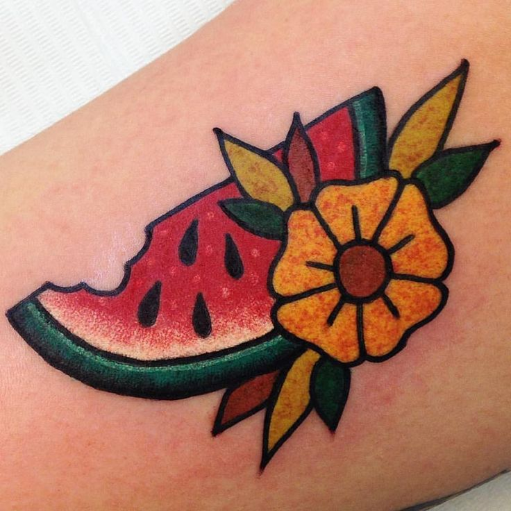 Watermelon done by Vinny @bodkintattoo @kisscoolvinny #traditionaltattoo                                                                                                                                                                                 More