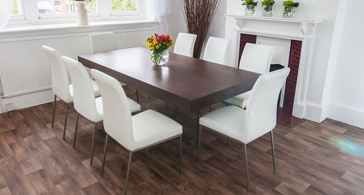 Create a stunning centre-piece in your dining room with the Aria Espresso Dark  Wood and Glass Dining Table and Louisa Dining Chairs. This stunning …