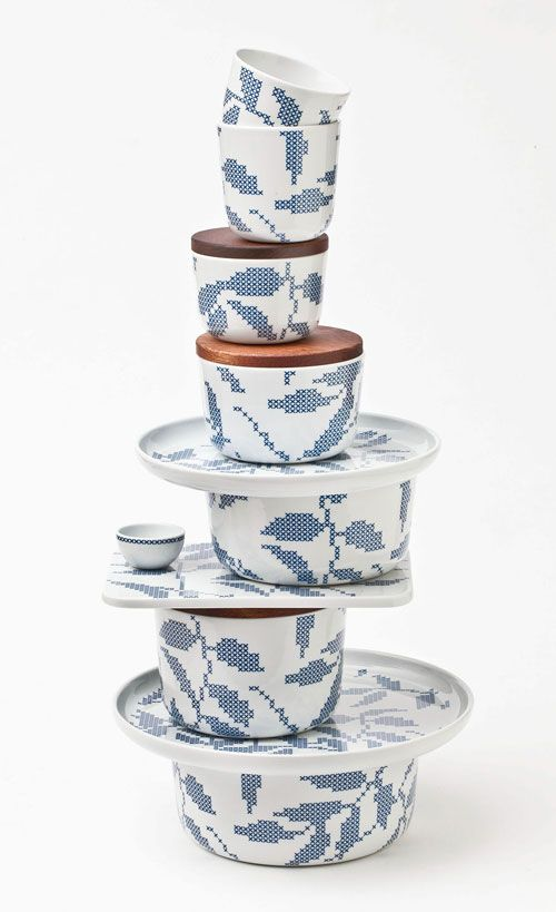 """line of ceramics named """"Stitches"""" - by Danish designer Gry Fager."""