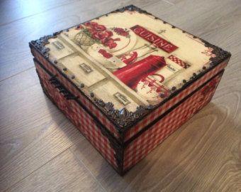 Shabby chic decoupage tea box wooden box tea by LavenderFieldUK