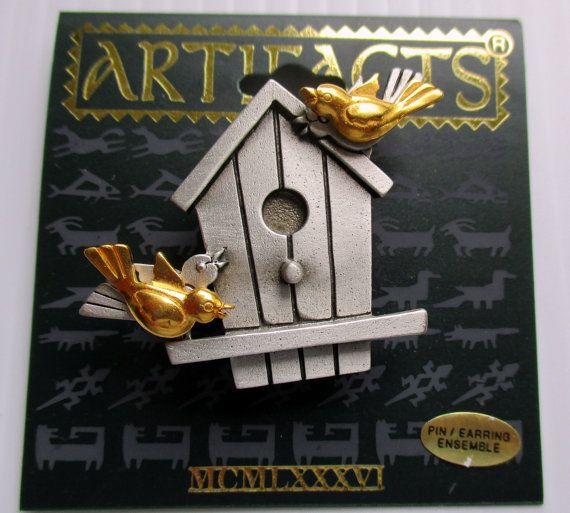 Cute Rare Signed Jonette Jewelry BIRDHOUSE Pin/brooch W/bird Earrings!