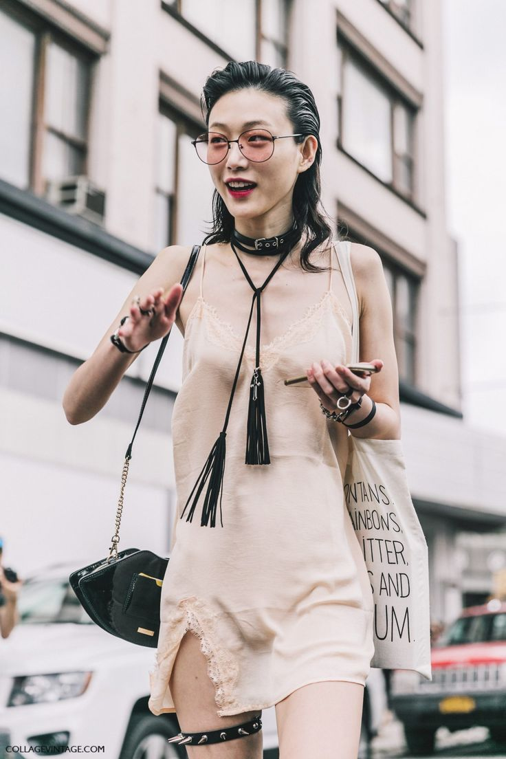 Lingerie In Street Style. Slip dress at new_york_fashion_week_ss17 sora_choi / This outfit... That's what I call inspiration! So original, interesting, grunge, attractive, extravagant, cute, stylish, hot, seductive, beautiful... I don't know what to say... :) I love black and beige together. The necklace is wow and her makeup, hairstyle, sunglasses... Beauty! And Sora is so cool!
