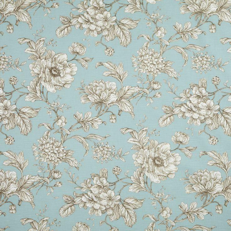 iLiv Aquitaine Eau De Nil Blue Floral 100% Cotton Curtain Upholstery Fabric 10M+