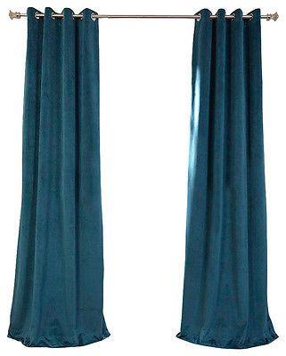 "IKEA 98"" Dark Turquoise Sanela Curtains Blackout Grommet Cotton Velvet Drape NOP"
