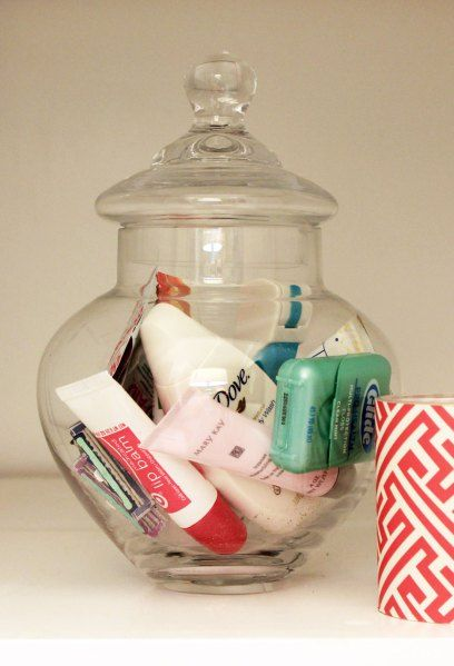 Bathroom Organization Guest Extras - Cute to put in a guest bedroom. Also might be pretty with nail polishes inside. Give has a house warming gift.