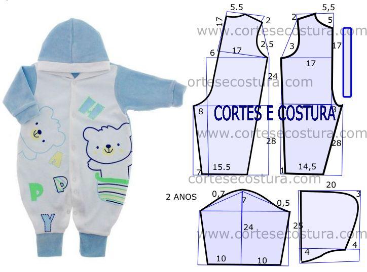 Pelo facto de ser muito solicitada a roupa de criança hoje vou publicar o molde de macacão de criança com medidas. Desta forma fica mais fácil desenhar o...
