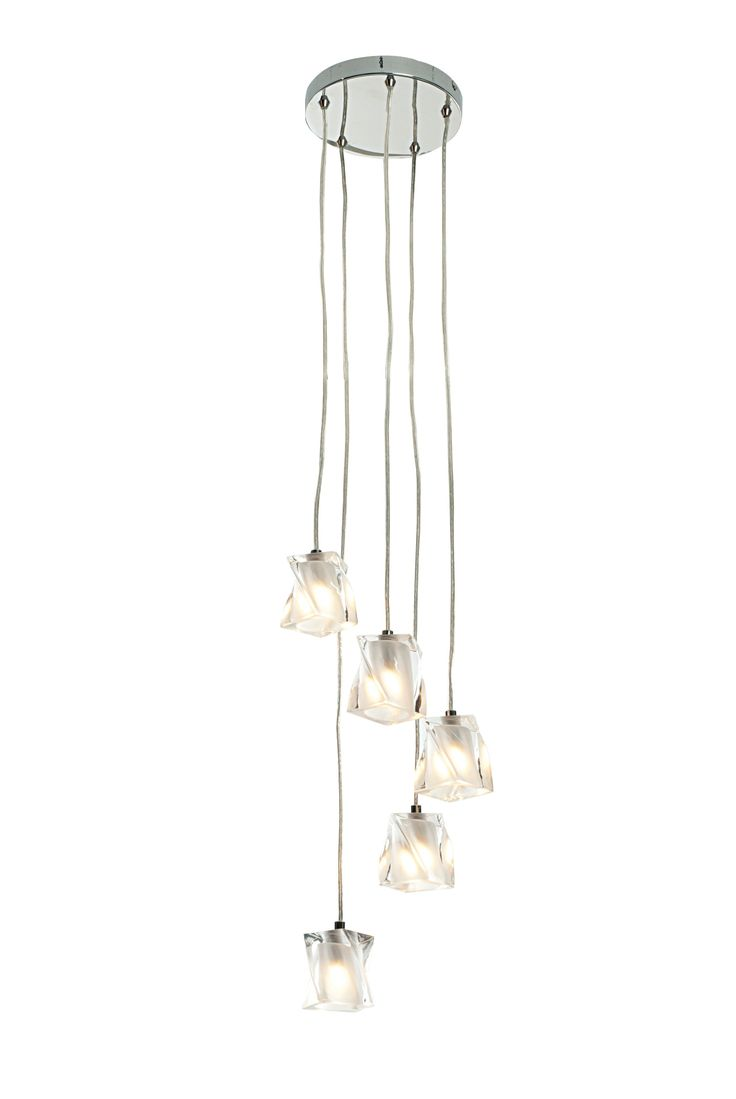 Borrello Ice Cube Clear 5 Lamp Pendant Ceiling Light