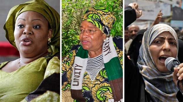 Women Making Change  Africa's first democratically elected female president, a Liberian campaigner against rape and a woman who stood up to Yemen's autocratic regime won the Nobel Peace Prize in 2011 in recognition of the importance of women's rights in the spread of global peace. The 10 million kronor ($1.5 million) award was split three ways between Liberian President Ellen Johnson Sirleaf (center), women's rights activist Leymah Gbowee (left) from the same African country and democracy…