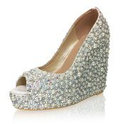 Morning Dew Bridal Leather Wedges