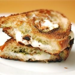 Fresh mozzarella melted with pesto. comfort food at its finest.