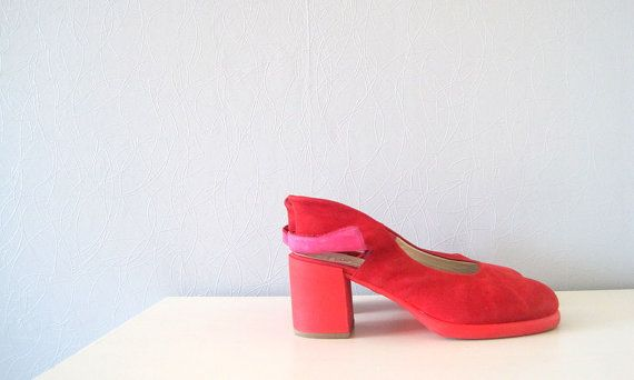 Red shoes Jan Jansen red suede vintage designer shoes 90s fashion US size 9, 40 European on Etsy, kr 645,16