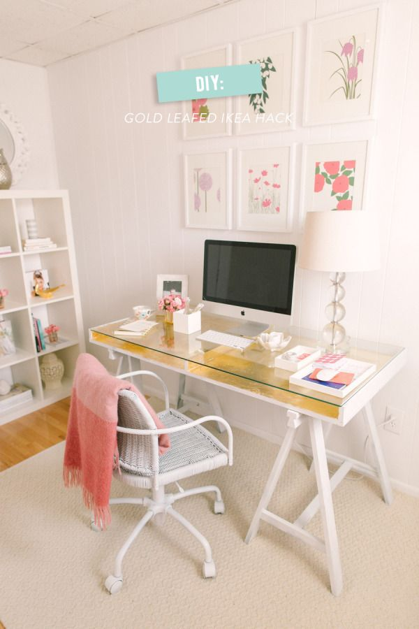 DIY: Gold Leafed Ikea Desk Hack/Makeup // would do in teal instead of gold because of my colors