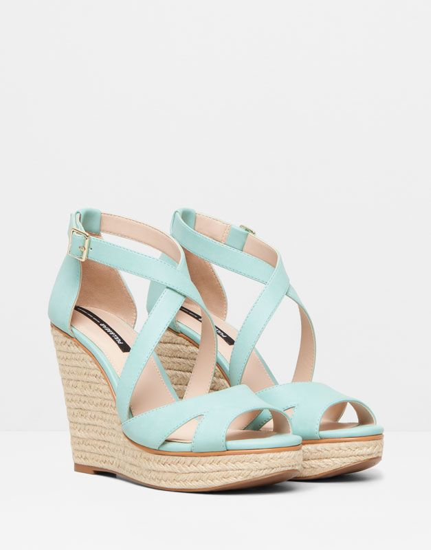 Pull&Bear - woman - women's footwear - crossover strap jute wedges - aquamarine - 11355011-V2015