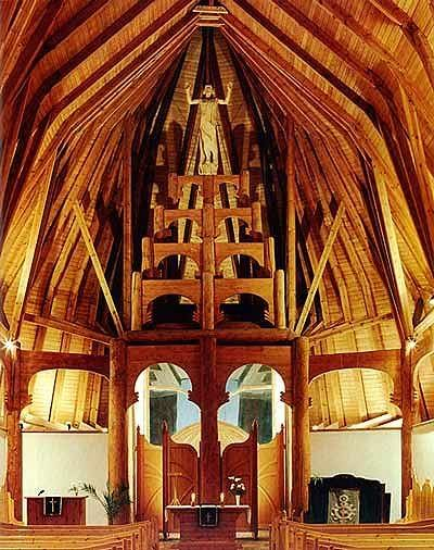 """""""Imre Makovecz, an architect who has fused the traditions of vernacular architecture with the most modern techniques, designed this truly unusual Lutheran church."""""""
