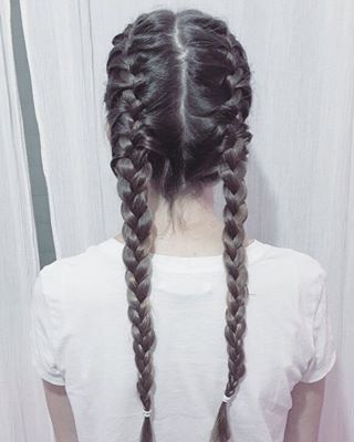 Sleep with your hair in French braids. | 21 Tips And Tricks That Will Actually Work On Your Thick Hair