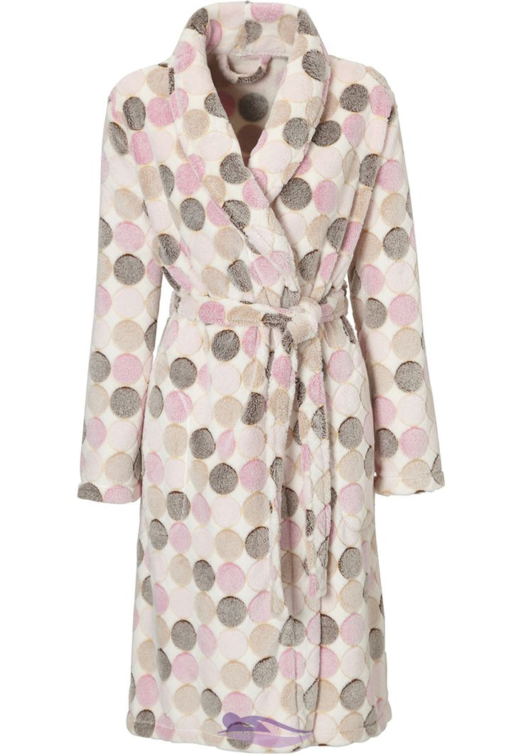 Extra soft ivory dotty dressing gown from Pastunette.