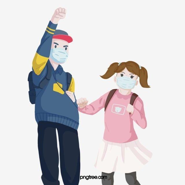 兒童戴彩色口罩預防肺炎 小孩 學校開學了 書包素材 Psd格式圖案和png圖片免費下載 Kids Wear How To Wear Children