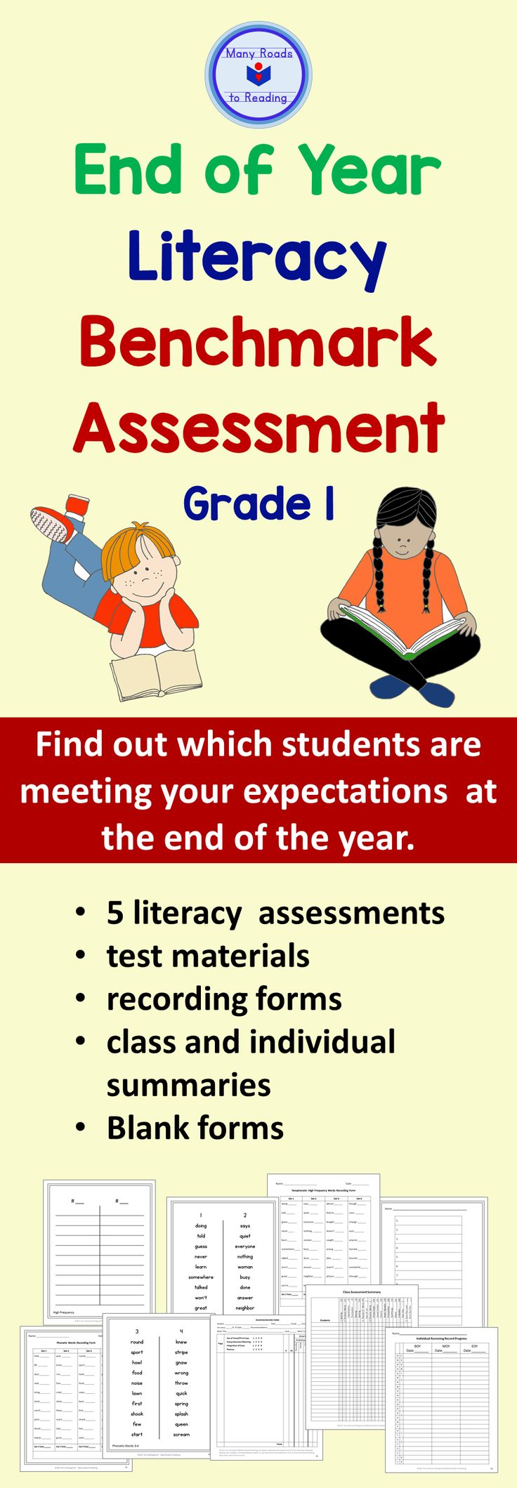 At the end of the year, determine which students have mastered reading and spelling skills. This EOY testing resource is highly adaptable, with word components you can choose from, and even blank forms for creating your own word lists.