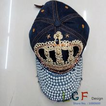 New arrival Diamond women washed skull denim baseball caps ladies baseball cap girls sun snapback hat(China (Mainland))