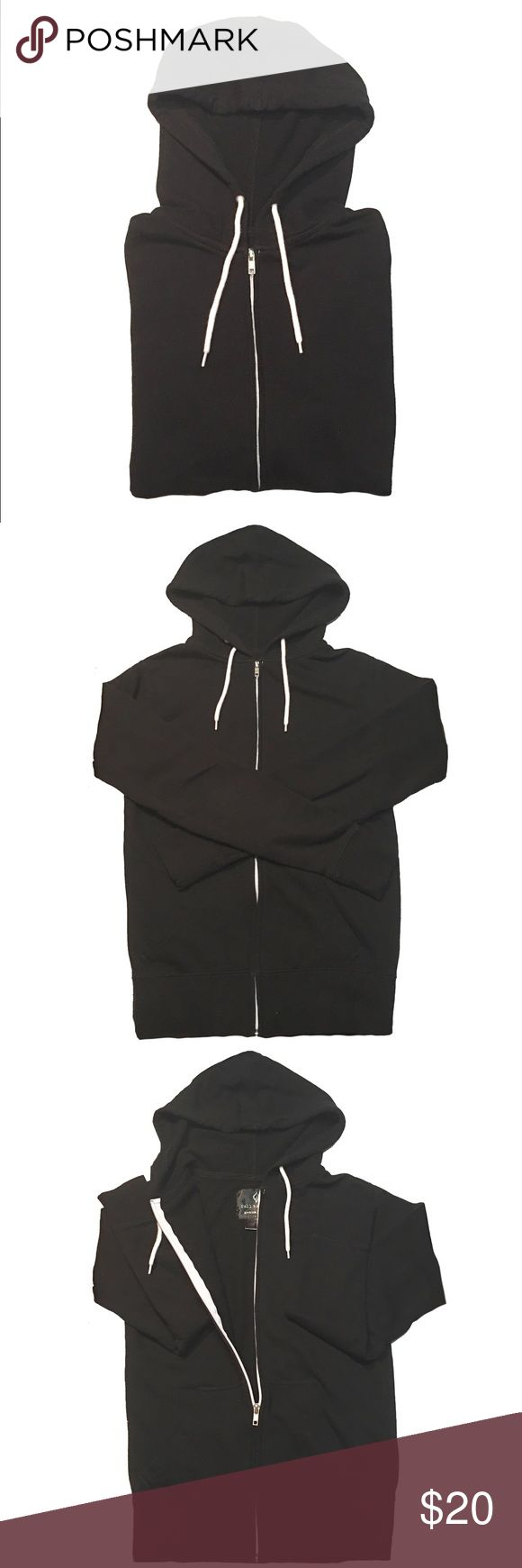 Basic Black Zip Up Hoodie · Full Tilt black zip up hoodie bought from Tilly's. Basic and nothing flashy. White contrasting zipper and drawstring. Thin. Pockets. Barely worn. Excellent used condition.   · These are photos of the actual item. Please review photos for flaws or signs of wear. I try my best to showcase and represent the true product. Tilly's Tops Sweatshirts & Hoodies