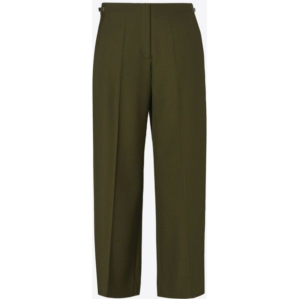 Maison Margiela 4 Trousers ($730) ❤ liked on Polyvore featuring pants, military green, pleated wide leg pants, zipper pants, brown pants, olive green pants and military green pants