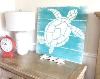 Nautical Handpainted Sea Turtle Sign