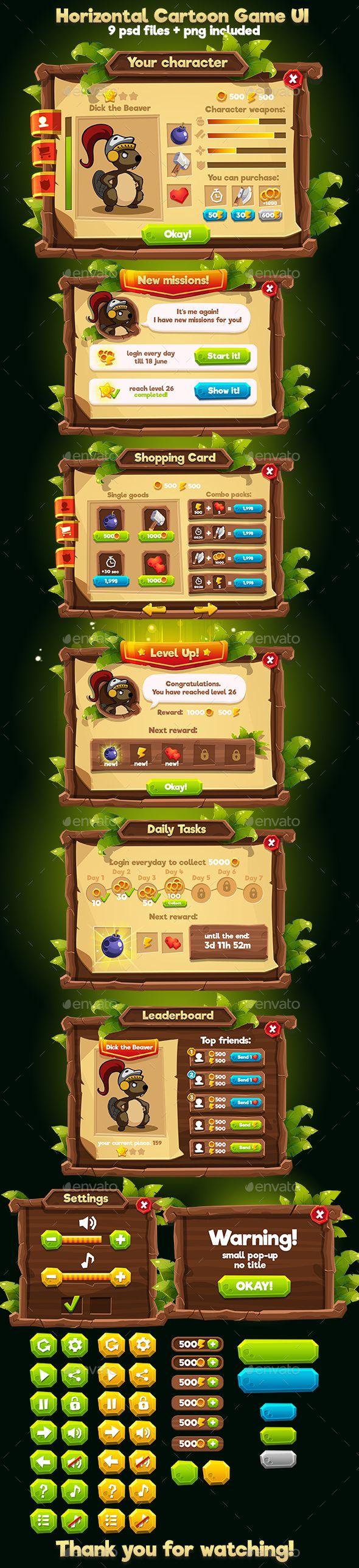 Wooden Cartoon Horizontal Game Interface - User Interfaces Game Assets