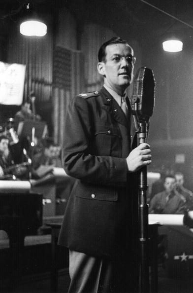 American trombonist and band leader Glenn Miller (1904 - 1944) performing with the Glenn Miller Army Air Force Band to entertain the troops. Original Publication: Picture Post - 1782 - Glenn Miller - unpub. (Photo by Felix Man/Getty Images)